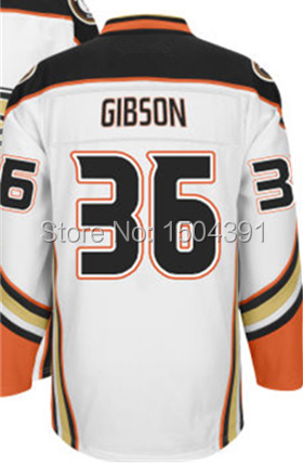 2015 Anaheim Ducks Mens Jerseys #36 John GIBSON White Ice Hockey Jersey 5354