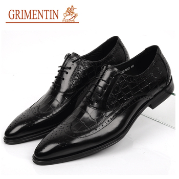 2015 brand men dress shoes genuine leather lace-up pointed toe black brown designer formal italian flats size6.5-10.5 ox13