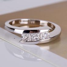 New 18K White Gold Plated Geometric Cut Zircon CZ Wedding Ring Gothic Jewelry For Women Fashion