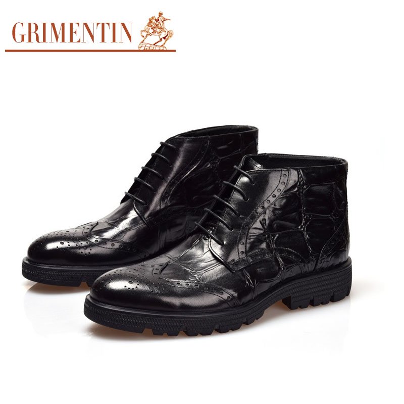 2016 Italian vintage crocodile fashion formal men leather ankle boots black brown man shoes for party business office dress #927(China (Mainland))