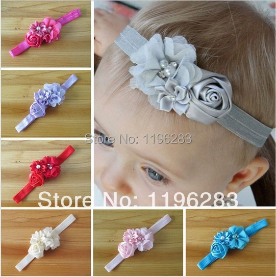 Infant flower headband 12 colors Baby pearl lace hairband Toddler Baby girls Felt Flower headbands RH31(China (Mainland))
