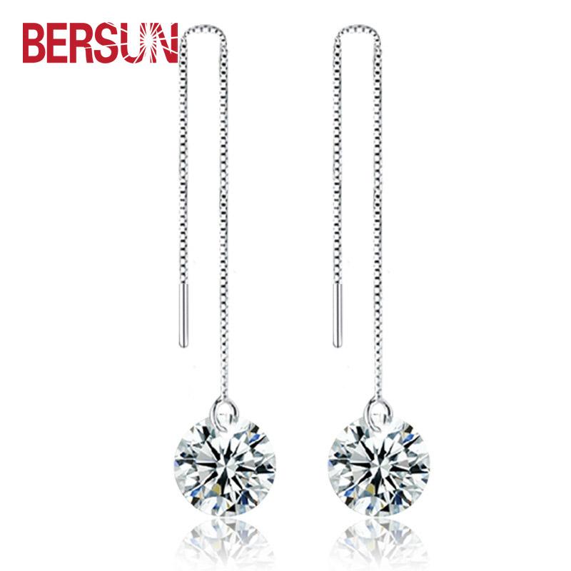 Bersun 2016 New Women Statement Long Drop Earrings Cubic Zirconia CZ Diamond Crystal Dangle Earrings Fashion Jewelry Wholesale(China (Mainland))