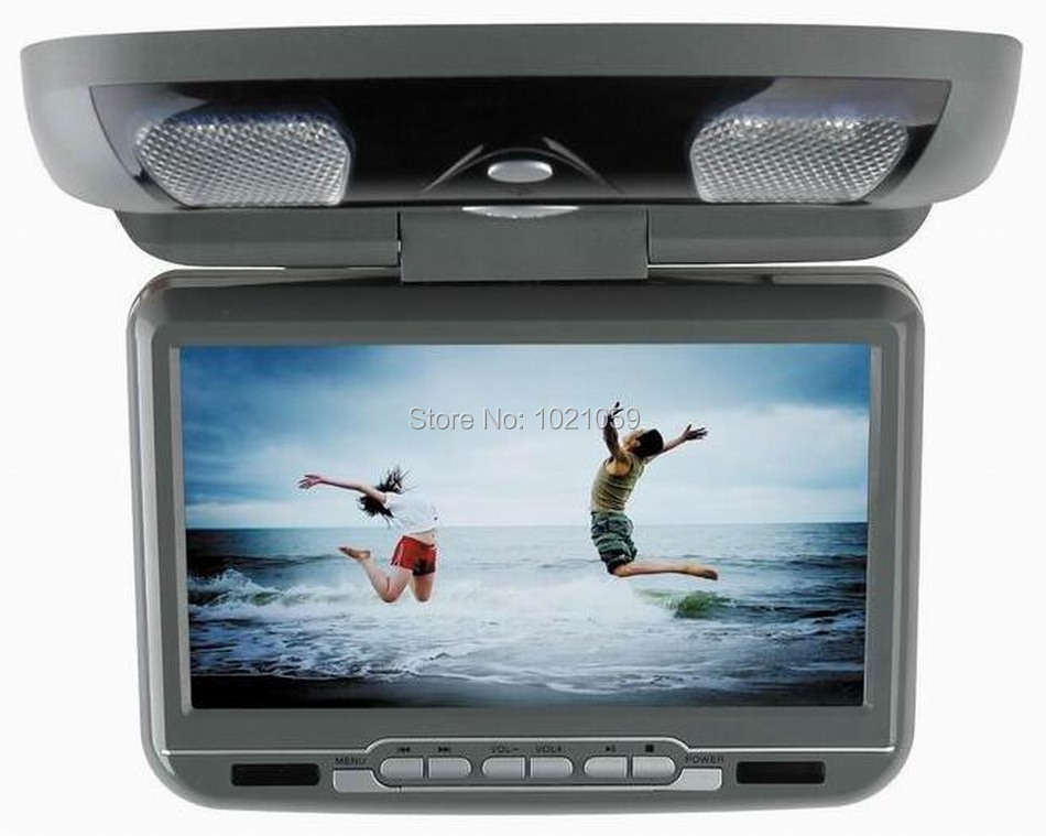9inch flip down roof mount car dvd player with USB/SD/IR/FM/wireless game 180 degree ratatable screen built in speakers(China (Mainland))