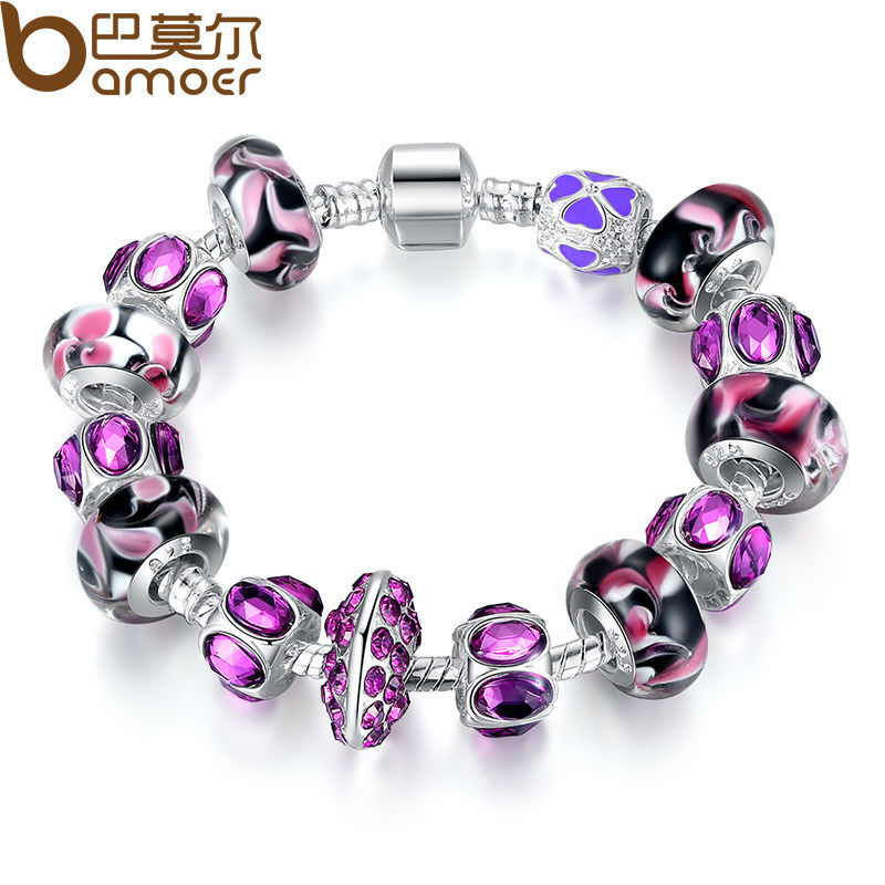 2015 NEW Arrival Fashion European Style 925 Silver Charm Bracelet with Purple Murano Glass Beads DIY Fashion Jewellery PA1319(China (Mainland))
