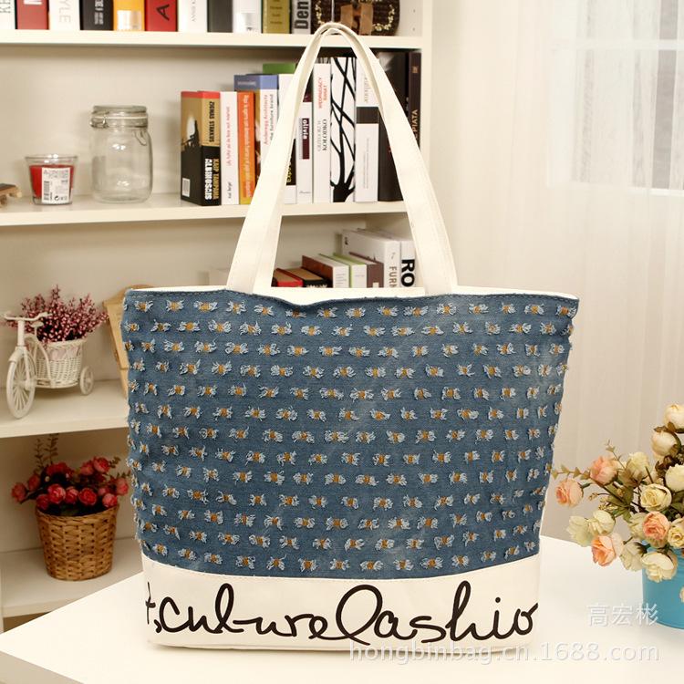 2015 New Brand Handbag With Cartoon Pattern Printing Casual Tote women Canvas Beach Bag Large Capacity Bolsas Femininas(China (Mainland))