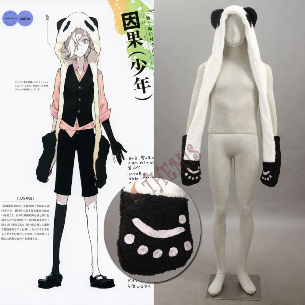 Athemis Anime Winter Bomber Hat UN-GO Inga Brack Cosplay Costume Accessory Lovely White Panda Plush Hat with Gloves and TailОдежда и ак�е��уары<br><br><br>Aliexpress