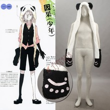 Athemis Anime Winter Bomber Hat UN-GO Inga Brack Cosplay Costume Accessory Lovely White Panda Plush Hat with Gloves and Tail