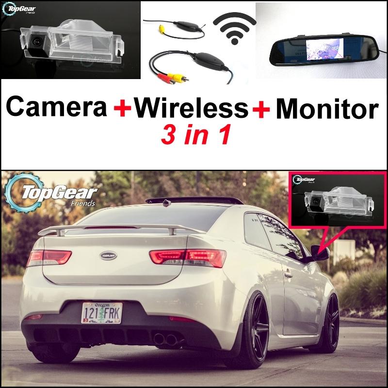3 in1 Special Camera + Wireless Receiver Mirror Monitor Easy DIY Parking System KIA K3 Cerato Forte Coupe Model 2008~2015