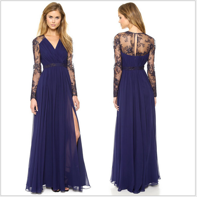 2015 new long lace V-neck floor-length dress brand  -  Shenzhen AZ trading Co., Ltd store
