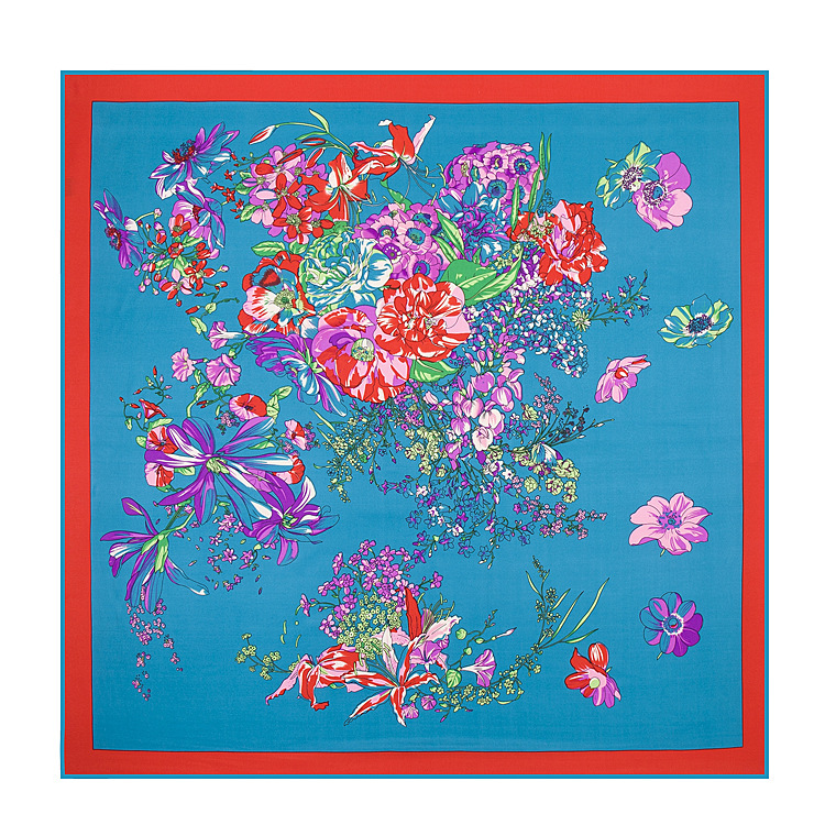 2015 NEW Classic Spring flowers pattern 100% realmulberry twill Silk Square Scarf gift for women(China (Mainland))