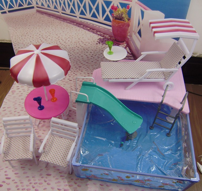 Free Shipping,New arrival Christmas/Birthday Gift Children Play Set Doll Furniture Swimming Pool Accessories For Barbie Doll(China (Mainland))