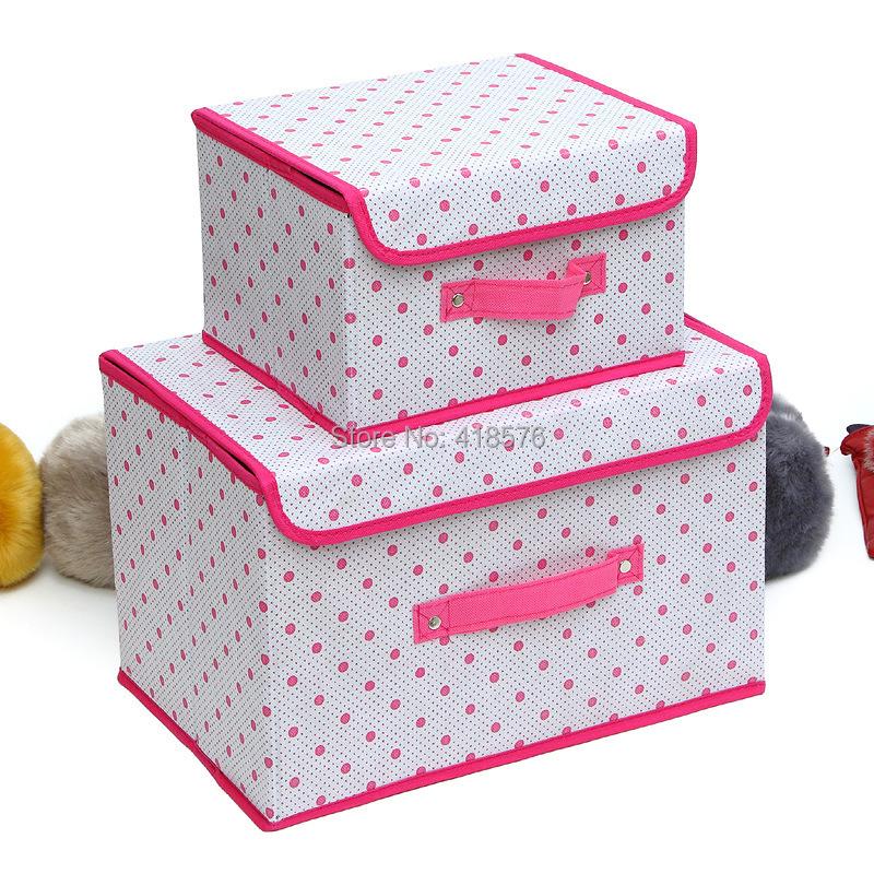 2 x Folding Storage Box Organizer Container for Clothes Toys Underwear Zakka Bin(China (Mainland))
