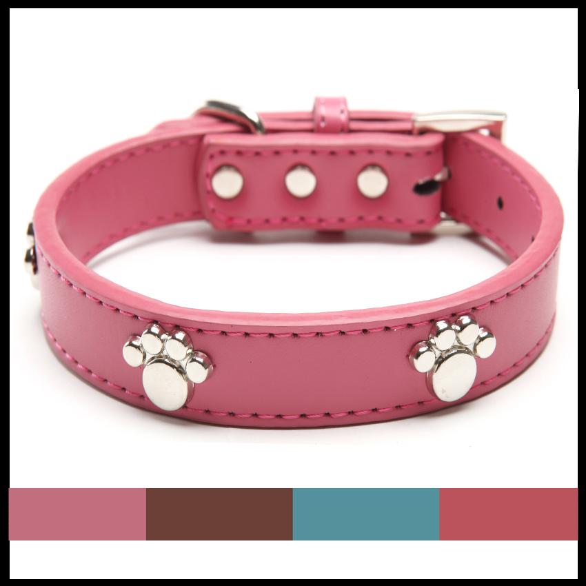 Натуральная Кожа Лапы Cut Щенок Ошейники Регулируемый Ожерелье Шпильки Pet Cat Ошейники для собак M L