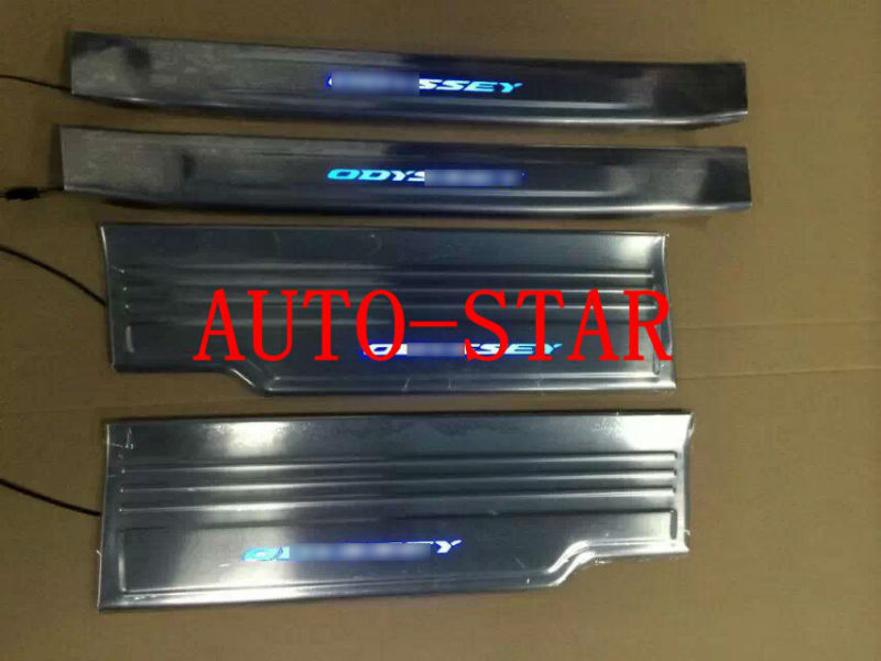 hot sale stainless steel car door sills sill plate scuff plate car pedal with blue led light. Black Bedroom Furniture Sets. Home Design Ideas