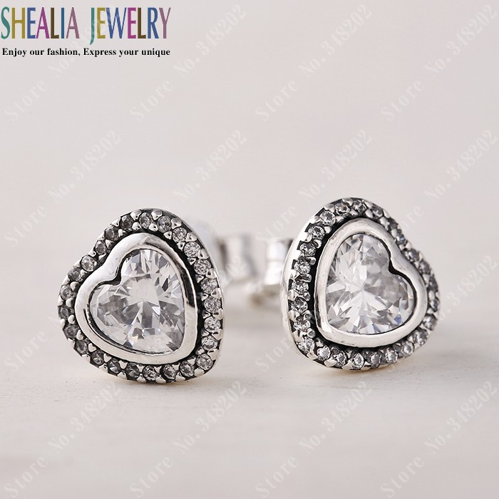 925 Sterling Silver Jewelry Heart Stud Earrings With CZ Earrings For Women DIY Making Fits European Fine Jewelry EAR019(China (Mainland))