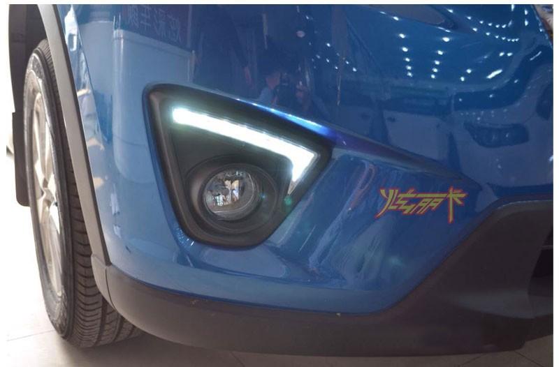 Купить Бесплатная доставка Автомобиля СИД DRL Дневные Ходовые Огни с функцией Переключения для 2012 Mazda CX-5, cx5, cx 5, противотуманные фары матовый черный