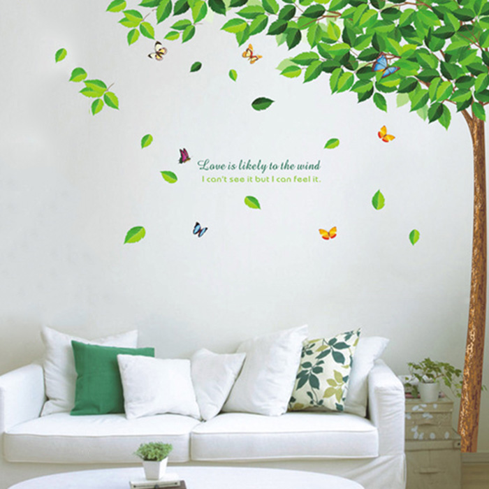 Best selling green tree wall decals living room bedroom for Diy photo wall mural