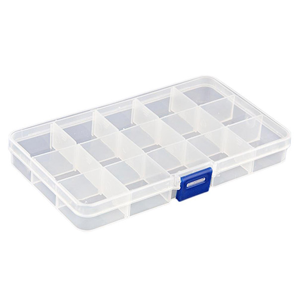 10-Grid Plastic Adjustable Jewelry Organizer Box Storage Container Case with Removable Dividers (Transparent)(China (Mainland))