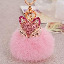 Dalaful Linda Raposa Bola de Pêlo de Coelho Fofo Saco Hotsale Pingente Chaveiros Chaveiros Chaveiros Anéis de Cristal Para As Mulheres K283(China)