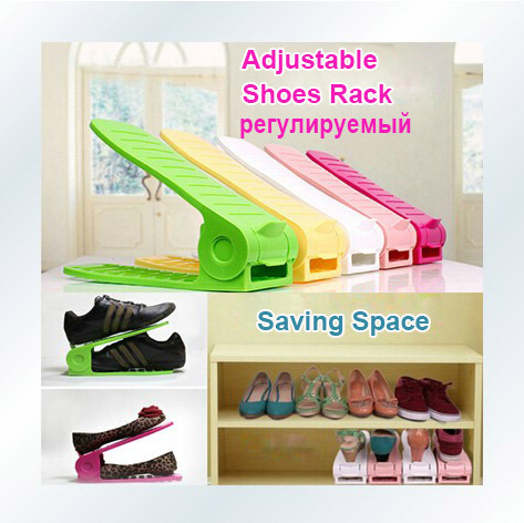 2pcs/lot Shoes Rack Shoes Organizer Space Saving Shoes Stand Shelf Shoe Storage Holder Adjustable Magic 2 Layers New Arrival(China (Mainland))