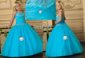 Halter Style blue Flower Girl Pageant Wedding Dress Size2-10 w20