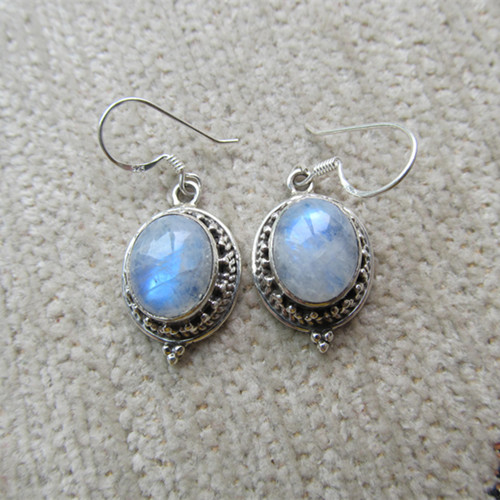 Nepal Silver Sterling Silver Earrings Inlaid Moonstone Number<br><br>Aliexpress