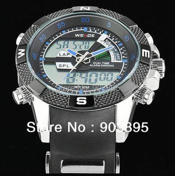 Free ship Men's Military dive swim watch Dual Time  backlight led Digital analog quartz wrist watch Chronograph 2 years warranty