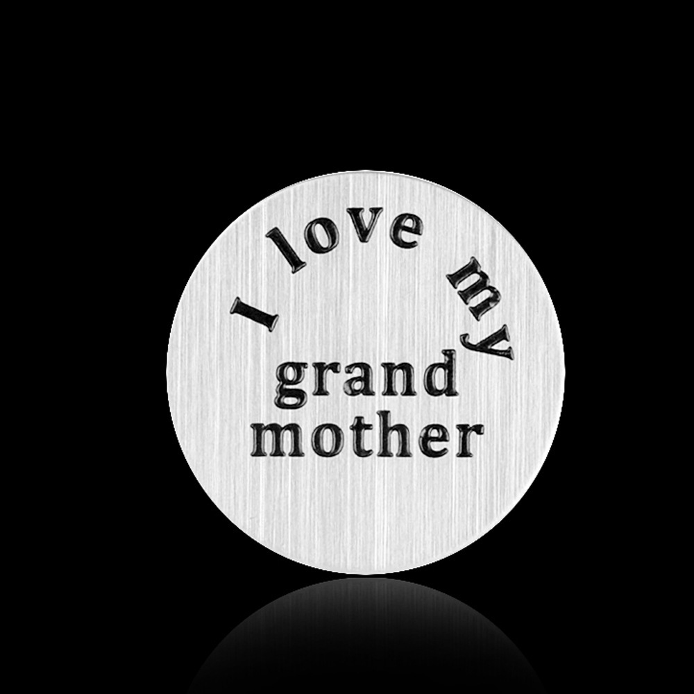 free shipping 22mm 20pcs/lot stainless steel i love my grand mother window plate charm fit your 30mm locket A031(China (Mainland))