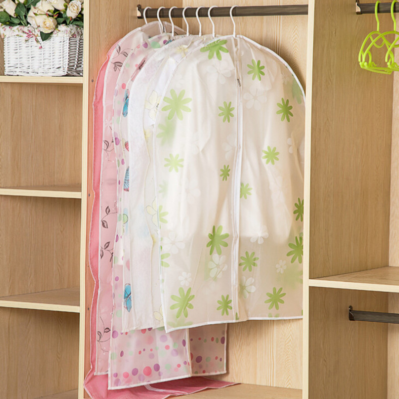 3pcs/set new semi-transparent waterproof thick PEVA dust cover coat dress clothes bag storage bag organizer closet organizer(China (Mainland))