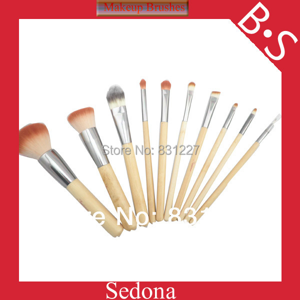 Eco-Friendly 10 pieces 2 tones synthetic hair bamboo makeup brush set natural bamboo color cosmetic brush kit for make up(China (Mainland))