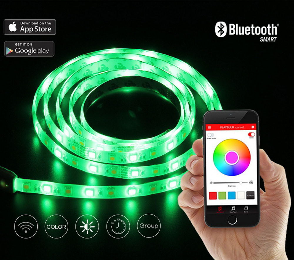 PLAYBULB Comet 2M 6.6ft Rope Flexible LED Light Strip Lamp Kit RGB Color Changing Christmas Lights Indoor Outdoor Decorations(China (Mainland))