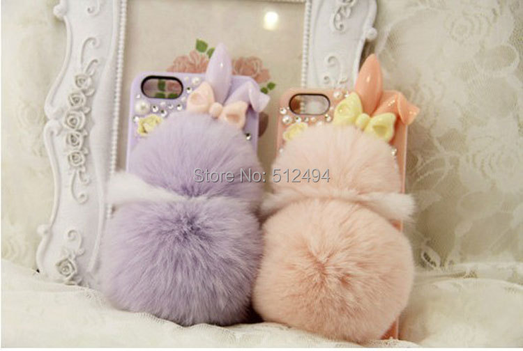 rex rabbit hair rabbit plush real fur ball mobile phone case for iphone4/4s/5s for Samsung galaxy s3 s4 note1 note2(China (Mainland))