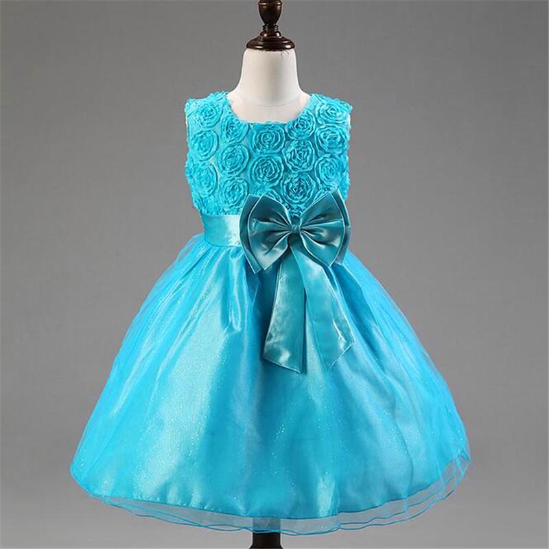 2016 New Summer Princess Flower Girls Rose Princess Dress Hem Tutu Color Cute Princess Dress Girls Baby Dress Evening Gown(China (Mainland))