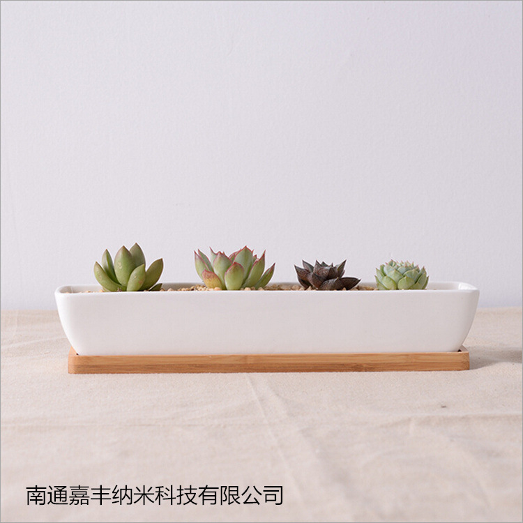 Modern White Ship Shape Ceramic Planter With Bamboo Tray