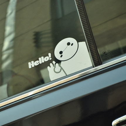 Fashion Baymax Say Hello Big Hero 6 Logo Vinyl Car Auto Motorcycle Reflective Decal 3M Sticker Window Cover Exterior Car-Styling(China (Mainland))
