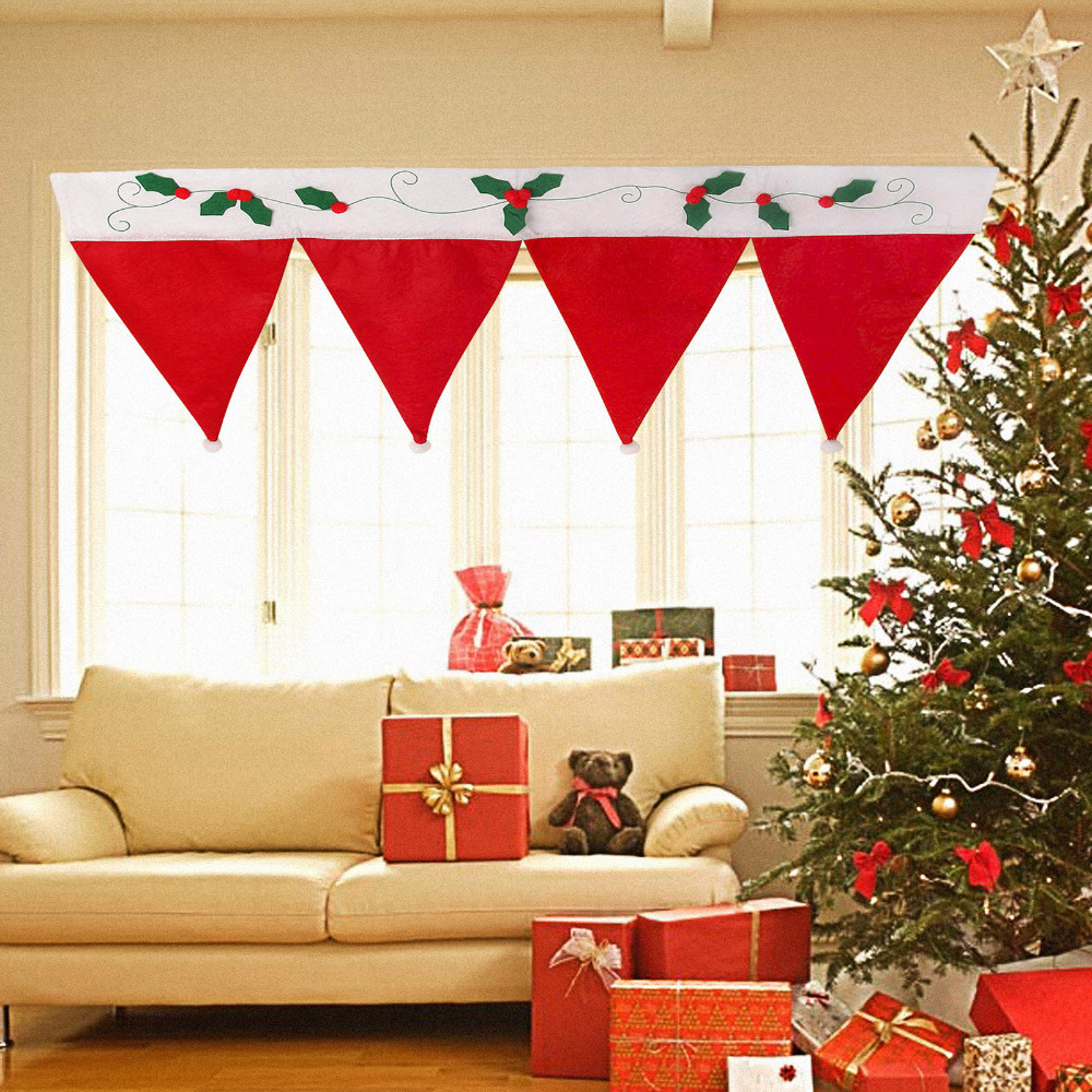 2015 christmas curtain for home door window drape panel for Decoration 4 christmas