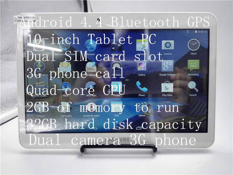 Free shipping Samsung 10-inch quad-core tablet 3G talk SIM wifi RAM: 2G / 32G Android 4.4 Spain Russian keyboard(China (Mainland))