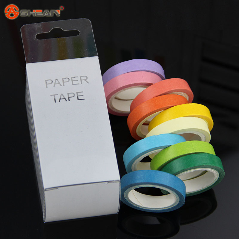 New 10 Pcs Rainbow Roll DIY Washi Sticky Paper Tape Masking Tape Self Adhesive Tape Scrapbooking Decorative Scrapbook Tape Gift(China (Mainland))