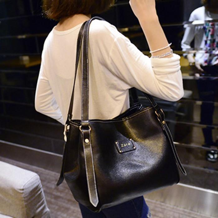 2015 new PU bag ladies briefcase Europe large capacity single shoulder black fashion simple messenger - Fashion beautiful shop store