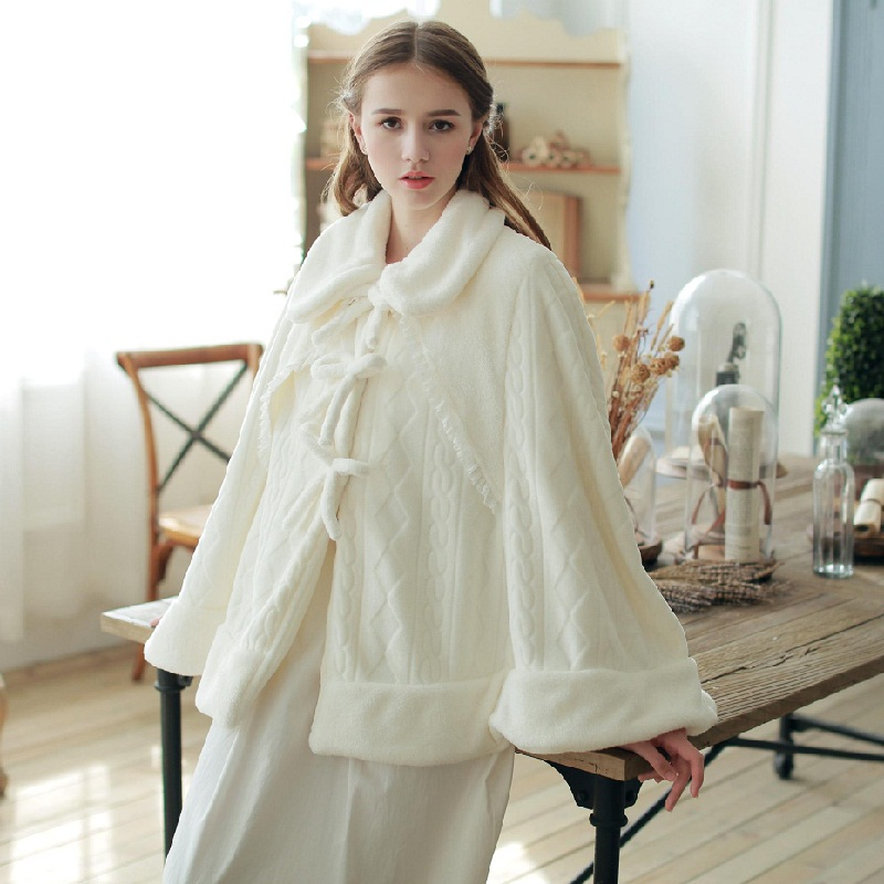 2015 Fashion Stole long Sleeve Poncho Thickened Flannel White Sweater Warm Shawl Woman Winter Scarves Home Wear C816(China (Mainland))