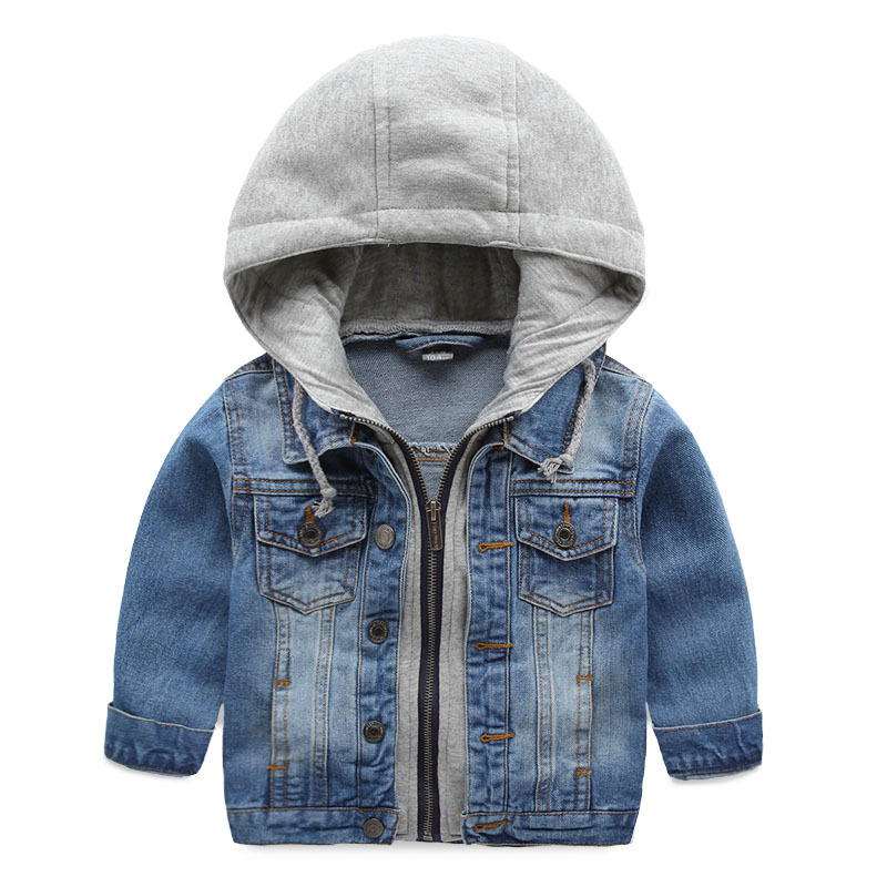 Children's denim jacket,boys long sleeve hooded jean coat,3-10 yrs kids clothing tops,new autumn casual outerwear - England apparel store
