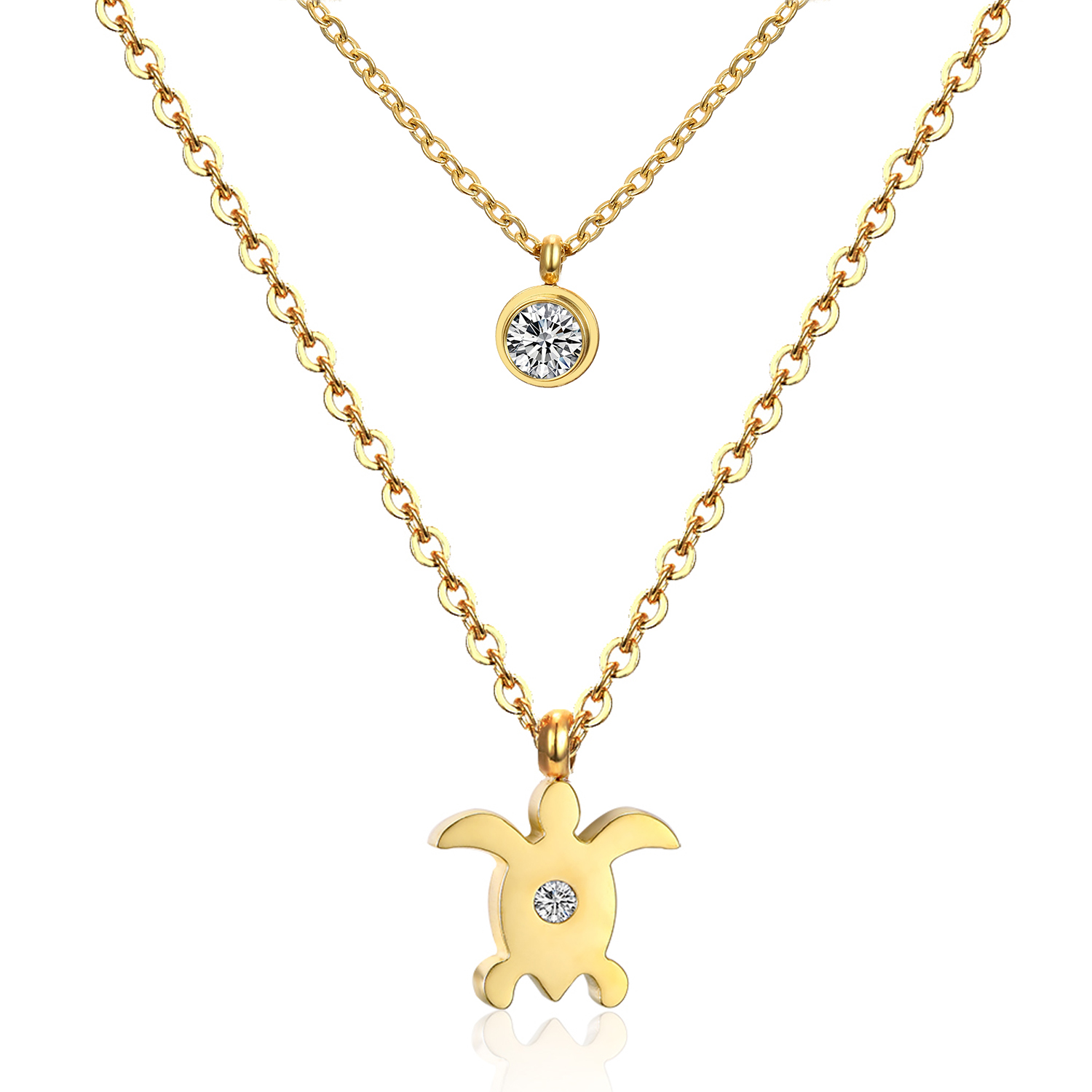 2016 New Design Double Chain Necklace Sea Turtle Pendant Necklace Fashion Stainless Steel Jewelry Necklace For Women(China (Mainland))