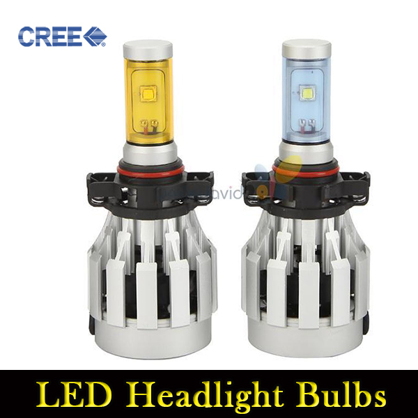 2x 20W H16 Cree LED Headlight Bulbs 3 Colors Adjustable 3000LM Modified LED Fogs Lights Replaceable Auto High Beam Car 12V 24V(China (Mainland))