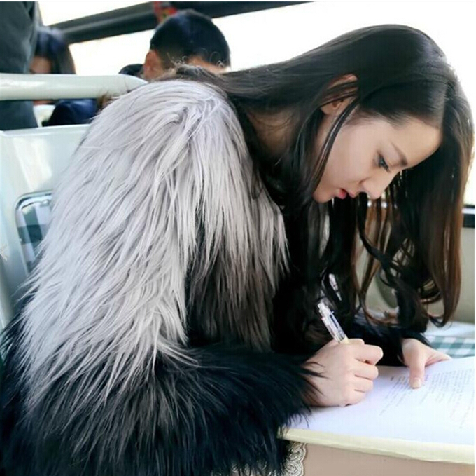 2015 autumn winter women's fashion gradient color faux fox fur jacket lady's long hair coat plus size