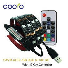 USB LED Strip 5050 RGB TV Background Lighting Kit Cuttable with 17Key RF Controller 1M/2M Set,Waterproof or Non waterproof(China (Mainland))