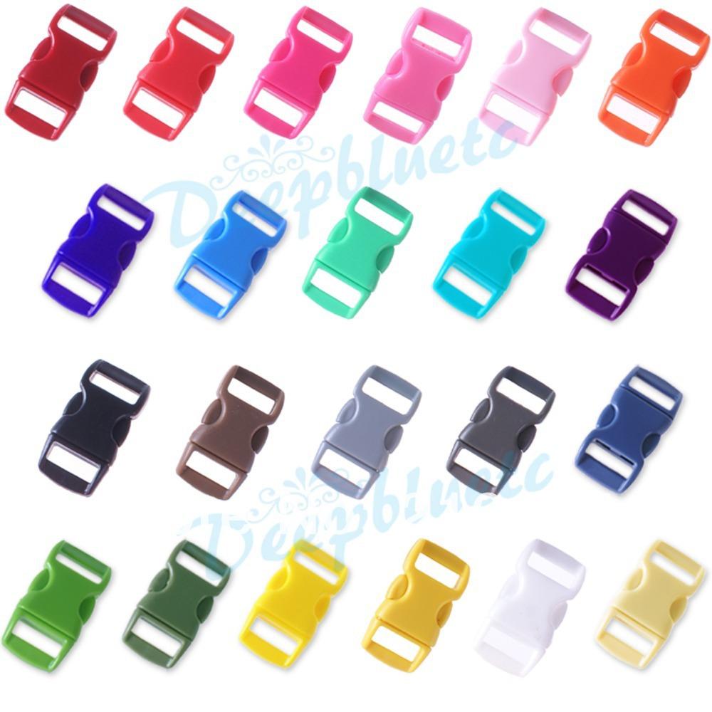 "100 pcs 3/8"" Mix Color Shackle Contoured Curved Side Release Plastic Buckle for Paracord Bracelet"