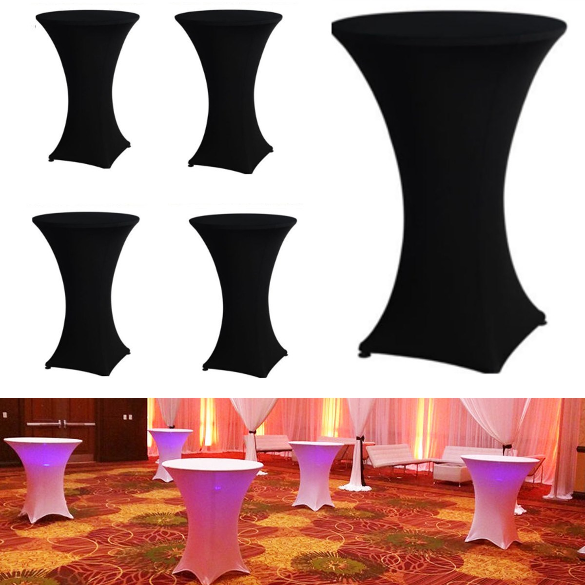 5PCS Black Spandex Stretch Table Cloth Fitted Cocktail High Bar Wedding Tablecloth Party Events Decor Textiles Table Cover(China (Mainland))