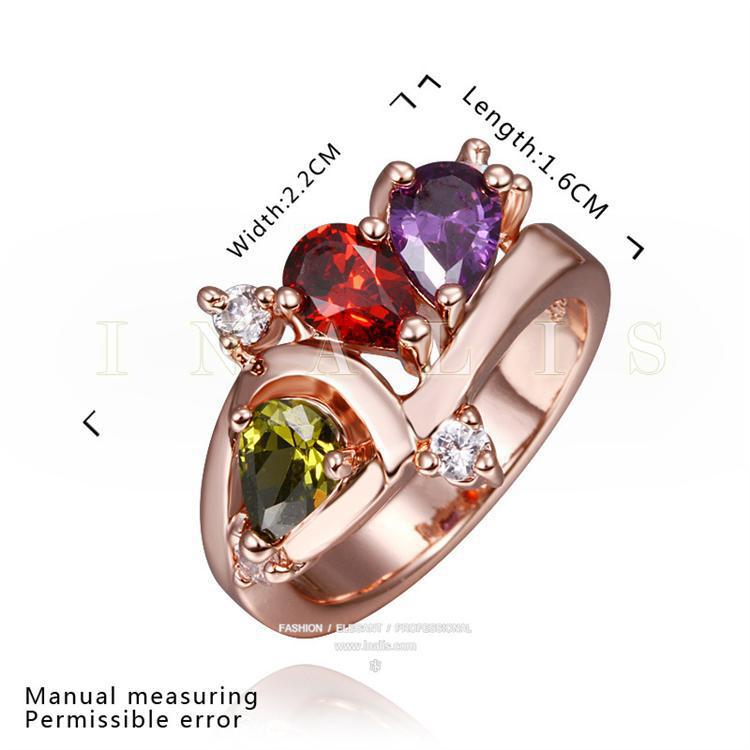 Engagement lady ring ruby yellow purple CZ diamond jewelry 18K Gold Plated alloy wedding rings free