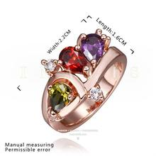 (Min order $10 mix) Gave a beautiful lady ring jewelry gifts, diamond (colorful zircon) alloy rings green
