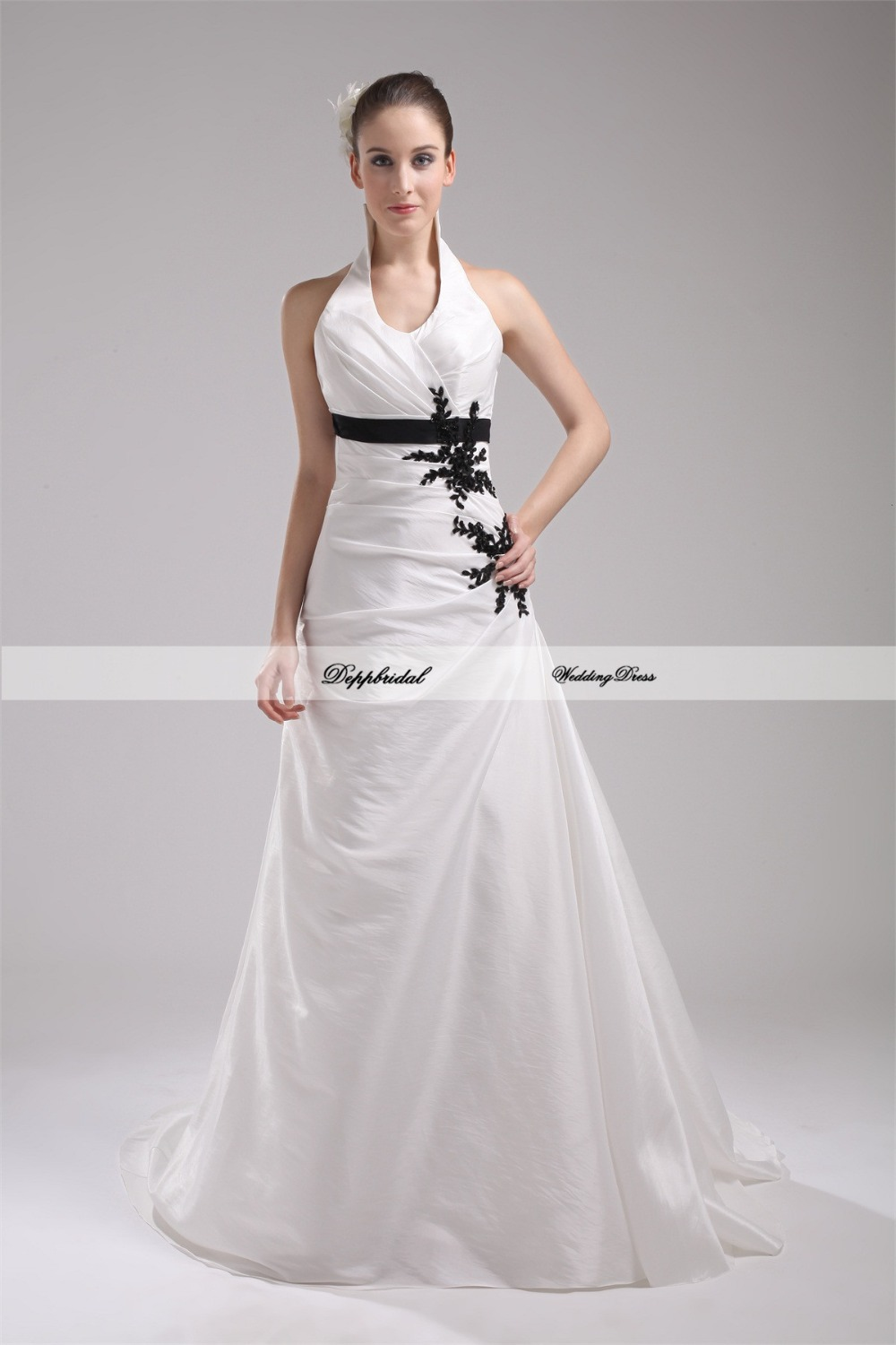 Wholesale wedding dress taffeta halter a line beading for Wedding dresses in color
